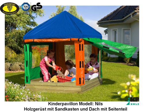 kinderpavillon nils sandkasten mit dach spielhaus neu ebay. Black Bedroom Furniture Sets. Home Design Ideas